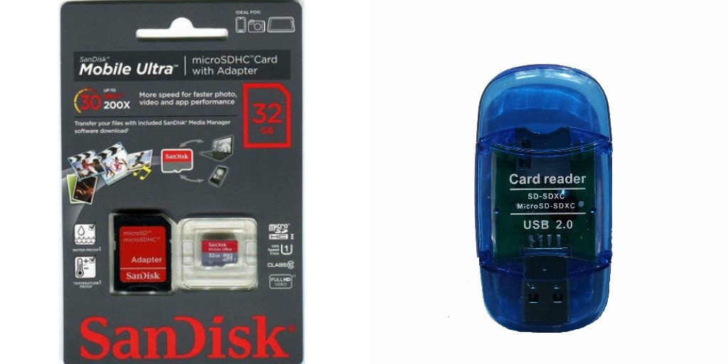 SanDisk 32GB Ultra MicroSDXC Class 10 Memory Card with SD Adapter with BONUS USB MicroSDXC Card reader- Retail Packaging