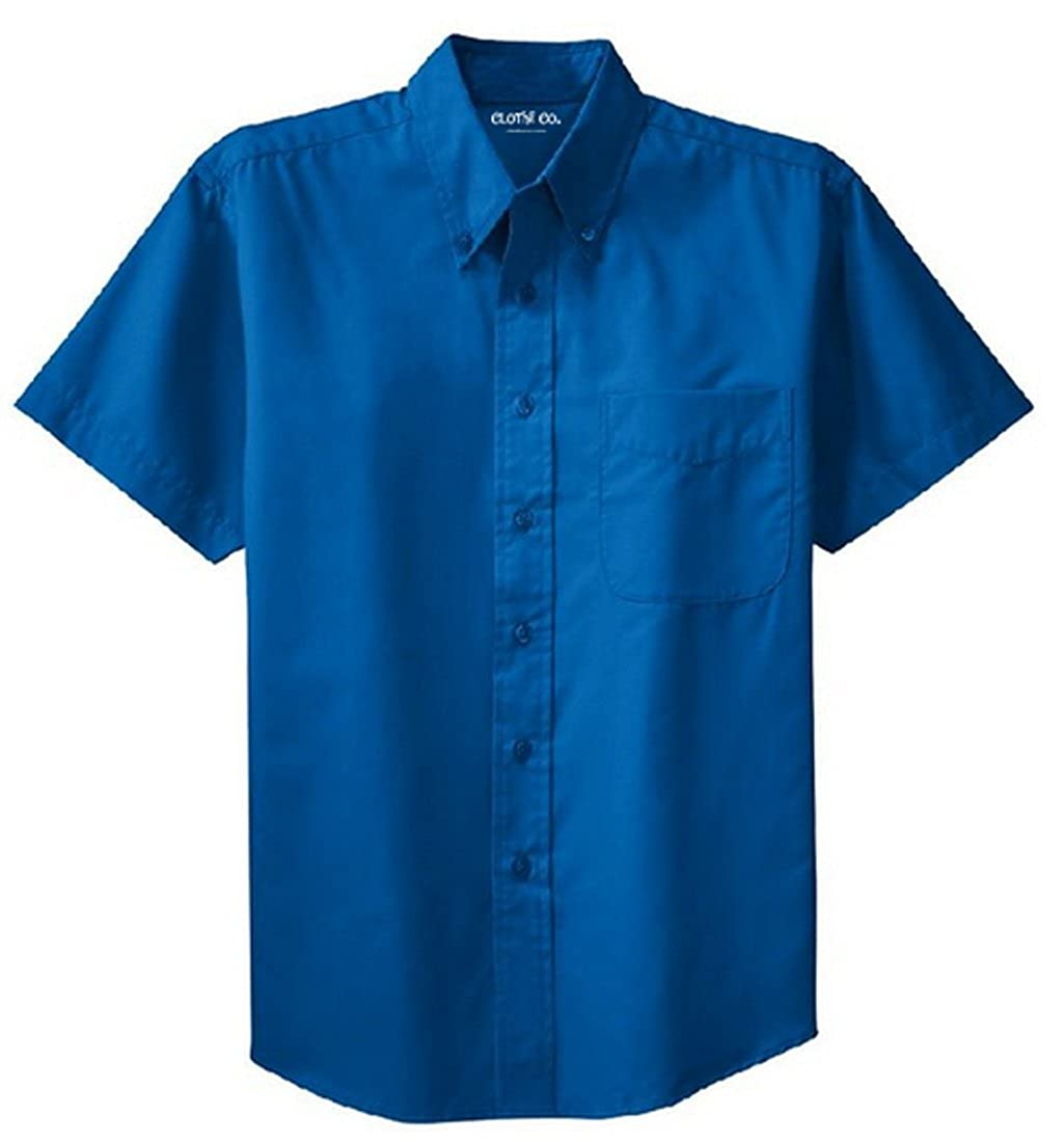 Mens Big /& Tall Short Sleeve Wrinkle Resistant Easy Care Button Up Shirt Clothe Co