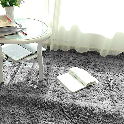 bedee Super Soft Living Room Rug, Large fluffy Area Rug Anti-Skid Faux Fur Rug Modern Shaggy Carpet for Bedroom with 8 pcs Anti-slip Rug Gripper (Grey, 120x160cm)