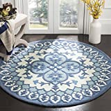 Safavieh Bellagio Collection BLG610G Ivory and Blue Medallion Round Area Rug (5' in Diameter)
