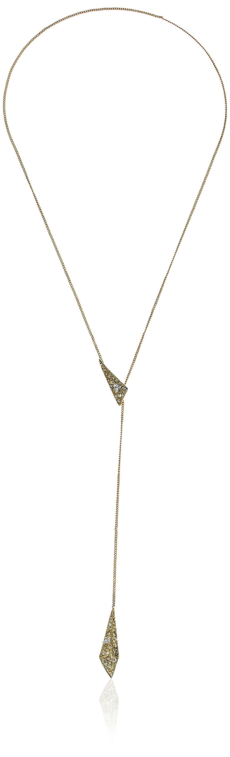 Alexis Bittar Crystal Encrusted Origami Lariat Y-Shaped Necklace