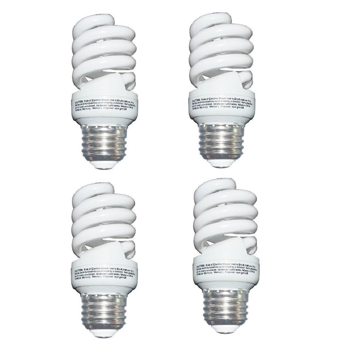 13 Watt 60 Watt Compact Fluorescent Light Soft White 2700K 1040LM Spiral Medium Base CFL Light Bulbs 4 Pack