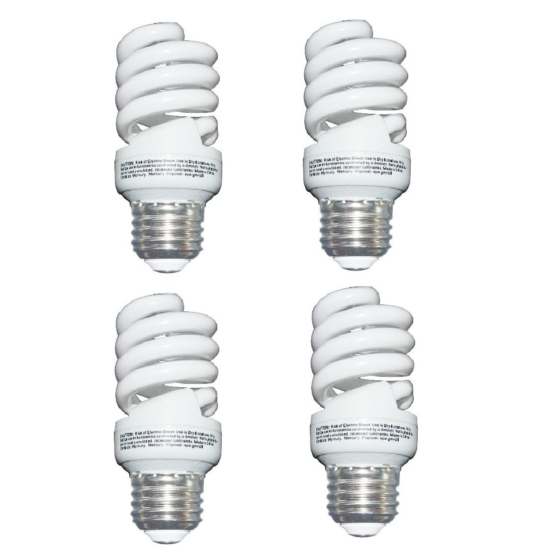 13 Watt (60 Watt) Compact Fluorescent Light, Soft White 2700K, 1040LM, Spiral Medium Base CFL Light Bulbs (4 Pack)