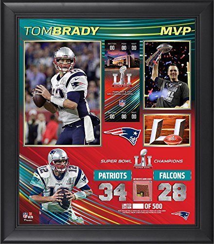 "Tom Brady New England Patriots Framed 15"" x 17"" Super Bowl LI MVP Collage with a Piece of Game-Used Football - Limited Edition of 500"