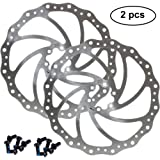 160mm 180mm 203mm Disc Brake Rotor with 6 Bolts Stainless Steel Bicycle Rotors Fit for Road Bike, Mountain Bike, MTB…