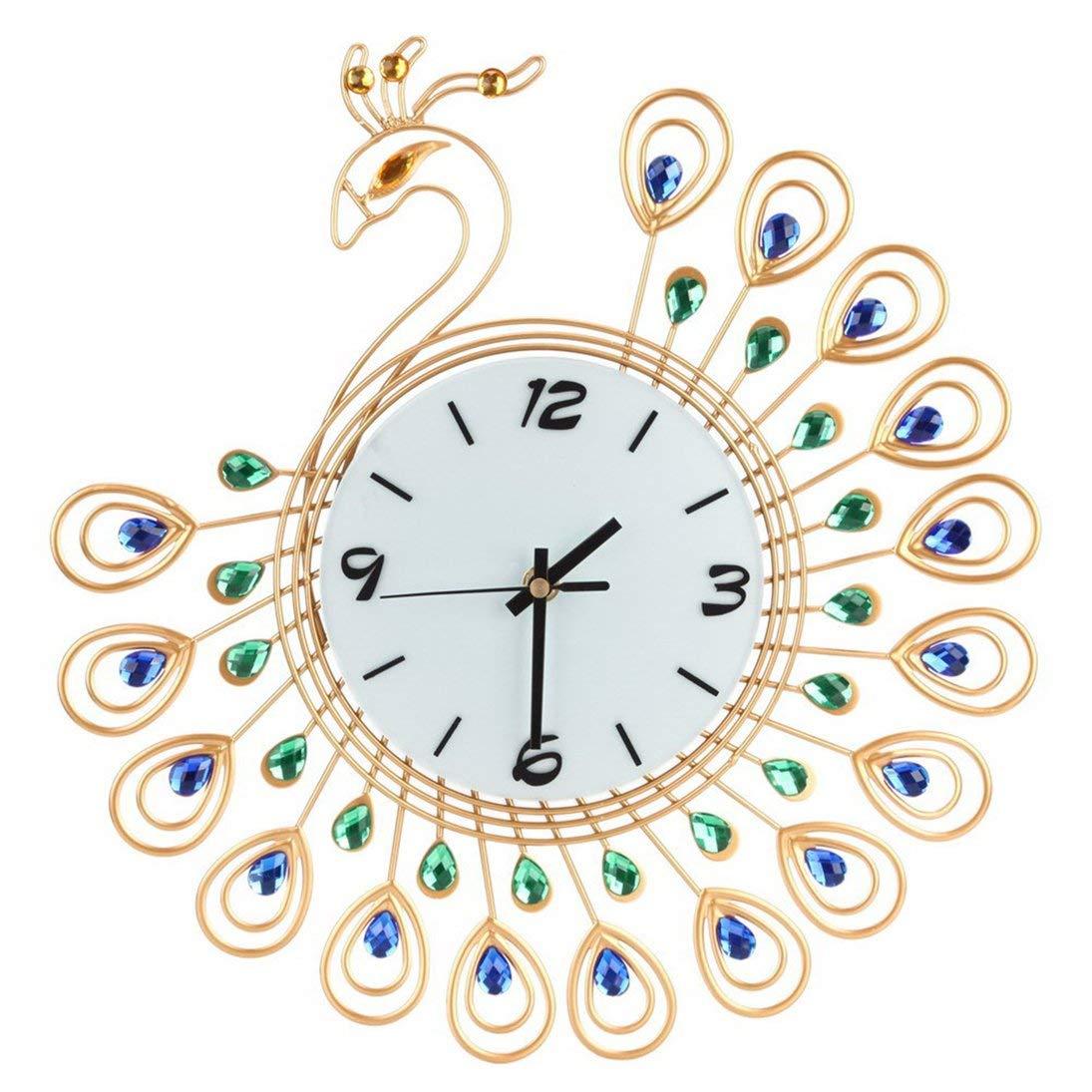 Baynne Peacock Crystal Metal Clock Silent 3D Wall Clock Peacock 36pcs Diamonds Decorative Clock Diameter by Baynne
