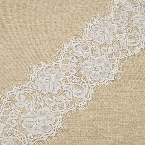 Shaped Floral Oval Trim - Floral Lace Bridal Eyelash Embroidery DIY Wedding Fabric Derss Sewing Craft (Color - White)
