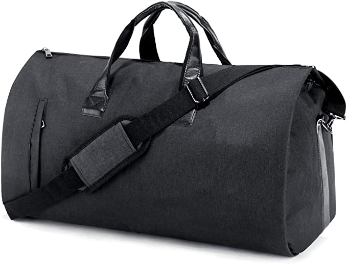 Garment Bag,Black,582333cm HWX Suit Travel Bag Suit Bag Carrier Luggage Change to Travel Duffel Bag for Men Women Overnight Weekend Flight Bag with Detachable Shoulder Strap