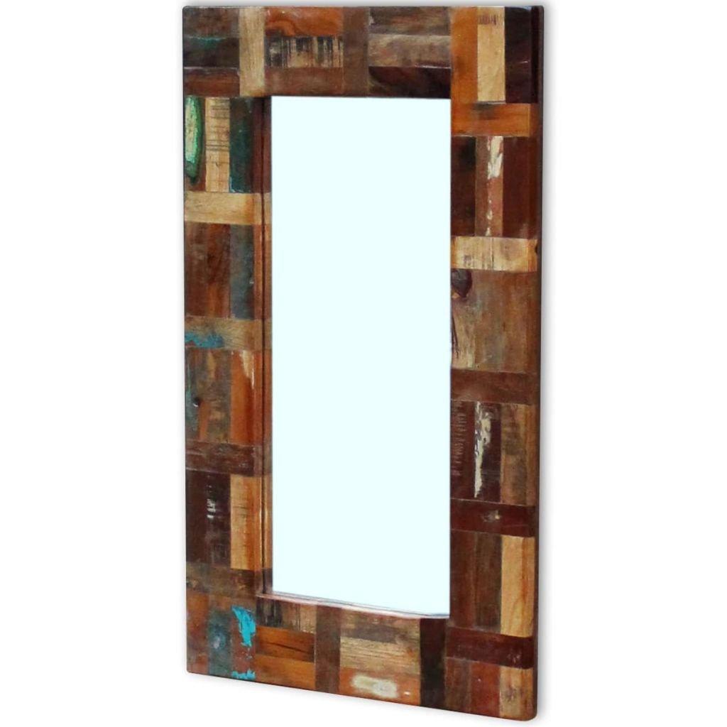 vidaXL Espejo de Madera Reciclada 80x50 cm Multicolor Baño Habitación Pasillo