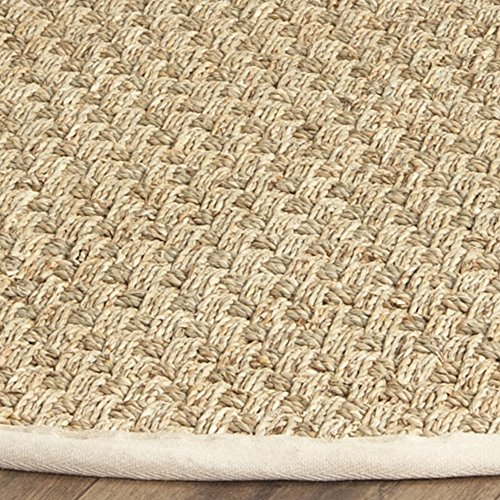 Safavieh Natural Fiber Collection NF114J Basketweave Natural and  Ivory Seagrass Round Area Rug (6' Diameter)
