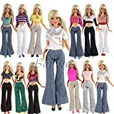 Barwa® 20 items = Doll Clothes Outfit 5 Tops 5 Trousers Pants +10 Pair Shoes for Barbie Doll Random Style