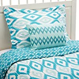 Chic Home 3 Piece Normani Reversible Ikat diamond and contemporary geometric pattern print technique Twin Duvet Cover Set Aqua