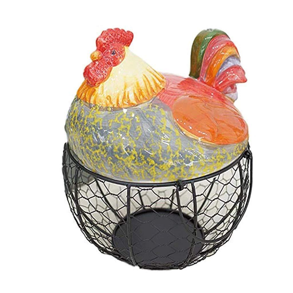 Ellyeall Cocina para Guardar La Cesta De Huevos Reutilizable Negro Malla Met/álica De Almacenamiento En Rack De Huevo De Cer/ámica Negro con Tapa De Granja De Pollo con Manijas,B