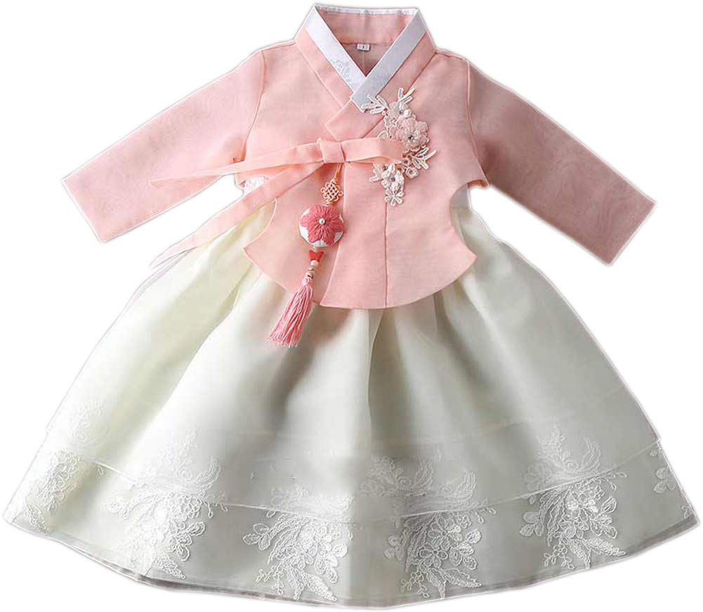 Korean Traditional Hanbok Babies Girls Costumes Dress Birthday Party DOLBOK 1-8 Ages yjg107 (1 Age)