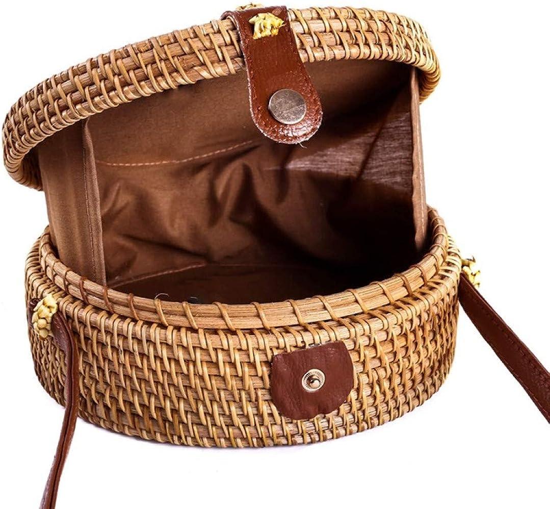Round Rattan Boho Purse Handwoven Straw Shoulder Bag Summer Beach Crossbody Bag