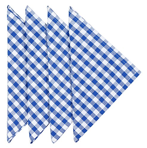 Cloth Napkins Gingham Napkins Blue and White Checkered Napkins 22 inch Set of 4 ()