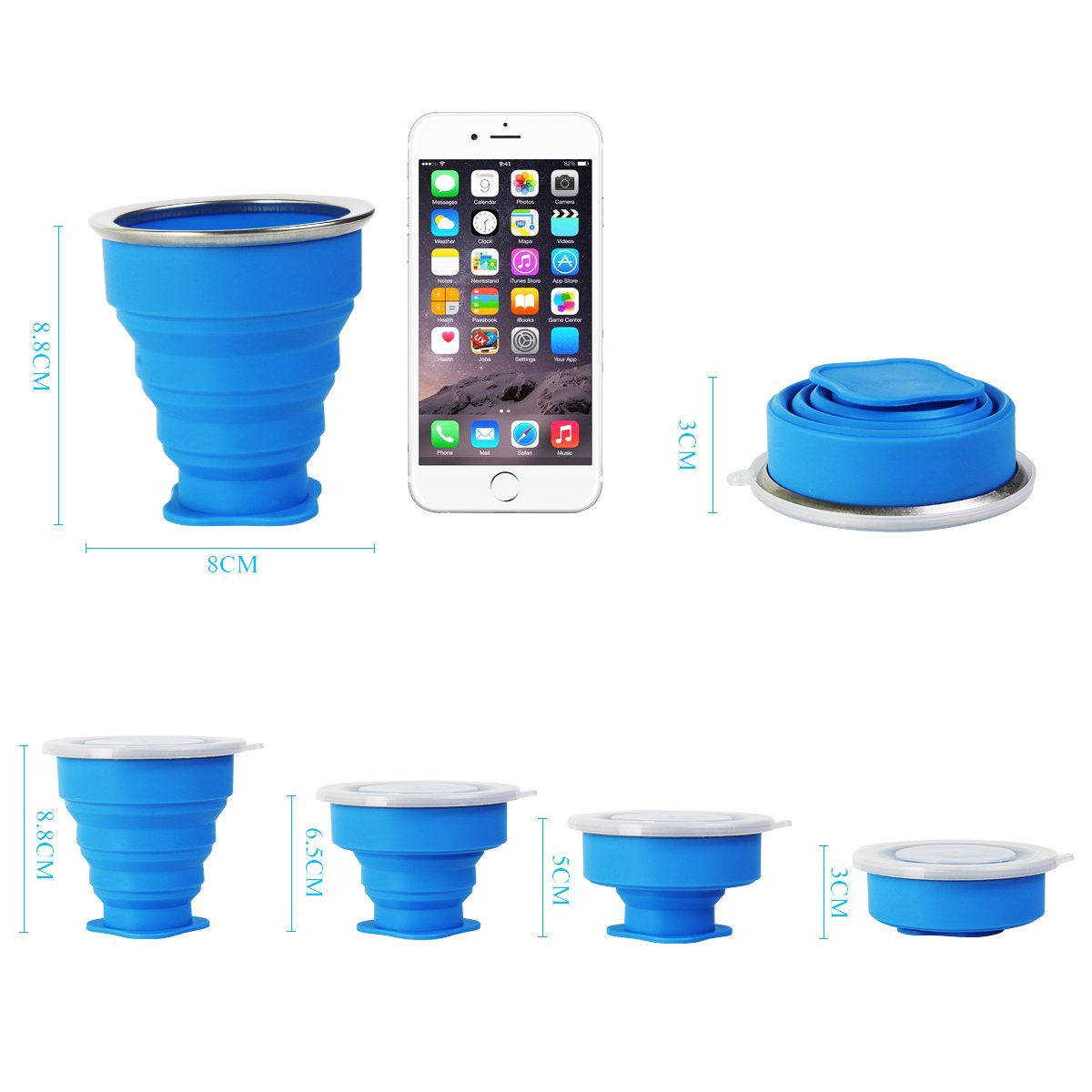 Blue and Pink Eastshining Collapsible Travel Cup 2 pcs Portable Folding Camping Mug Space Saving BPA Free Silicone Retractable Cup for Traveling Hiking Camping Picnic