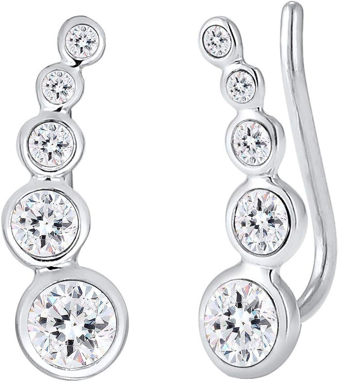 Elli Pendientes para dama forma geométrica con cristales Swarovski® en plata de ley 925
