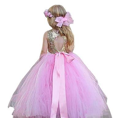 vipgowns Vestido Brillante para Niña Vestido de Boda Fiesta ...