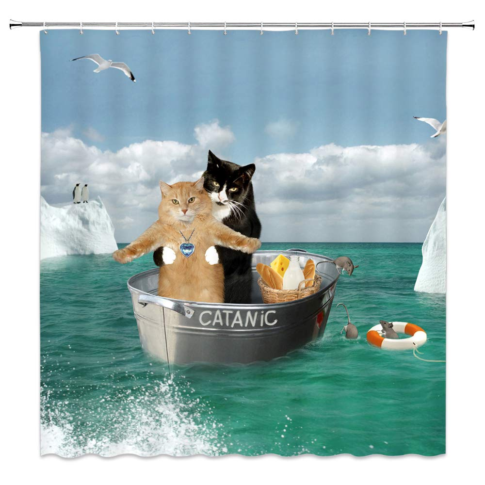 AMNYSF Funny Catanic Cats Titanic Cosplay Classic Romantic Pose Double Kitten In Green Ocean Decor Shower Curtain,70x70 Inch Waterproof Polyester Fabric Bathroom Accessories Curtains With 12pcs Hooks