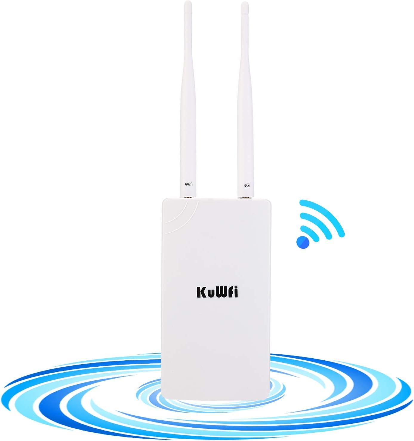 KuWFi Enrutador WiFi 4G SIM, Router inalámbrico CPE inalámbrico al Aire Libre Antenas Dobles de Alta Ganancia con Ranura para Tarjeta SIM ...