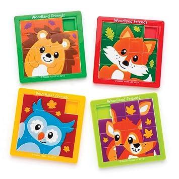 Baker Ross- Puzles deslizantes con Animales del Bosque (Pack de 5) para Bolsas Sorpresa Infantiles