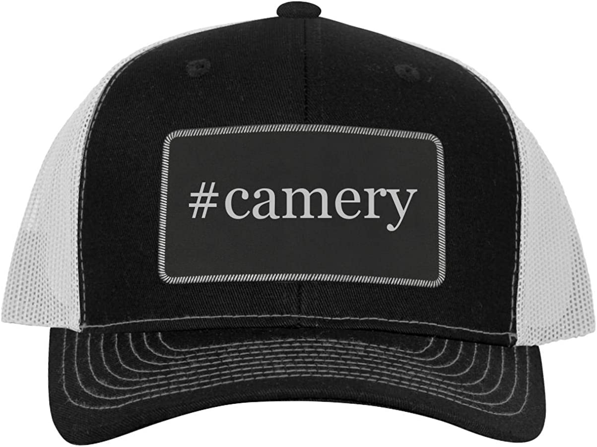 Leather Hashtag Black Patch Engraved Trucker Hat One Legging it Around #camery