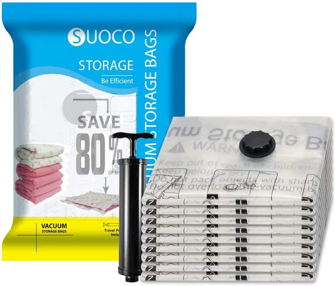"SUOCO Vacuum Storage Bags 8 Pack (Jumbo 30"" x 40"") Space Saver Compression Bags with Travel Hand Pump"