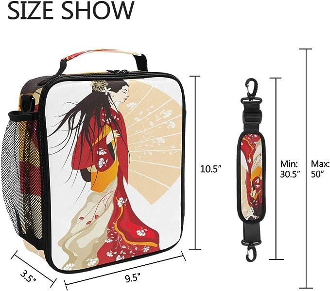 reutilizable QMIN aislante t/érmica con correa para el hombro con cremallera Bolsa de almuerzo japonesa para mujer