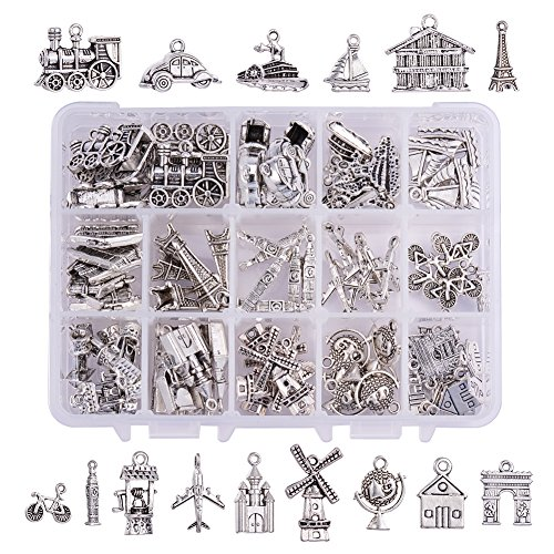 PH PandaHall 90 Pieces 15 Style Antique Silver Tibetan Alloy Travel Theme Charms Pendants Beads Charms for DIY Bracelet Necklace Jewelry Making