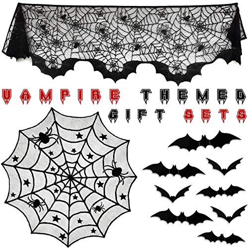 Halloween Decorations Indoor, Vampire Party, Spiderweb Fireplace Mantle Scarf Lace Cobweb Cover 20