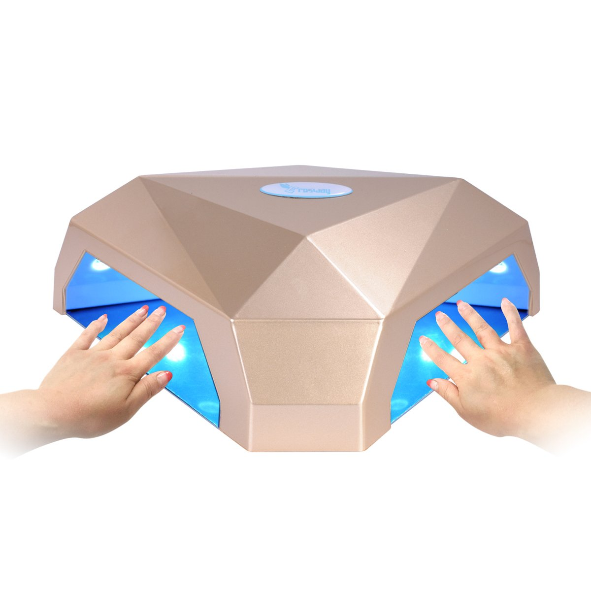 LED Nail Lamp, Erosway Nail Lamp 60w Two Hands Gel Nail Polish Dryer with 5-120s Automatic LCD Timer Display and Infrared Sensor or Without Sensor. Treats LED and UV Nail Gels. (Gold)
