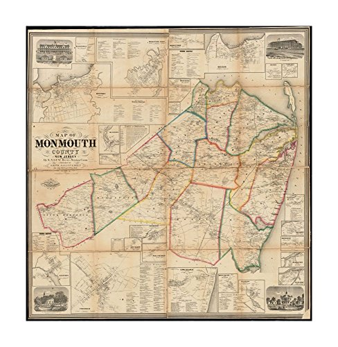 1861 Map New Jersey   Monmouth   Of Monmouth County  New Jersey Relief Shown By Hachures  Includes N