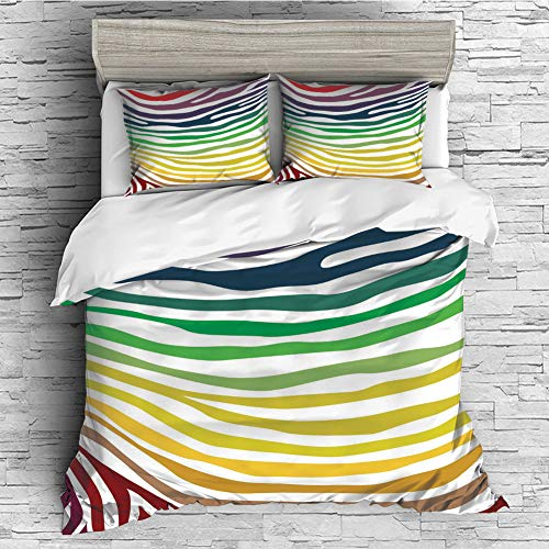 Home Luxury 4 Pieces Duvet Cover Bedding Sheet Set(Double Size) Zebra Print,Colorful Zebra Stripes Pattern in Cheering Rainbow Color Modern Style Art Decorative,Red Yellow Green