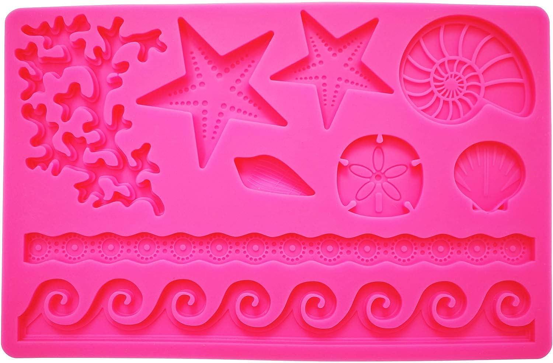 Scivokaval Ocean Sea Life Theme Cute Seashell Silicone Baking Chocolate Fondant Soap Candy Cake Decor Jelly Sugarcraft Gumpaste Pastry Clay Making Ice Cube Tray Fimo Mold