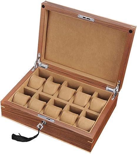 SuRose Ver Caja de Madera 10 Ranuras Ver Estuche de Viaje para Hombres Mujeres Joyería Exhibir Cajas de Almacenamiento Organizador de escaparate con Tapa de Cristal y 10 Almohadas: Amazon.es: Deportes y