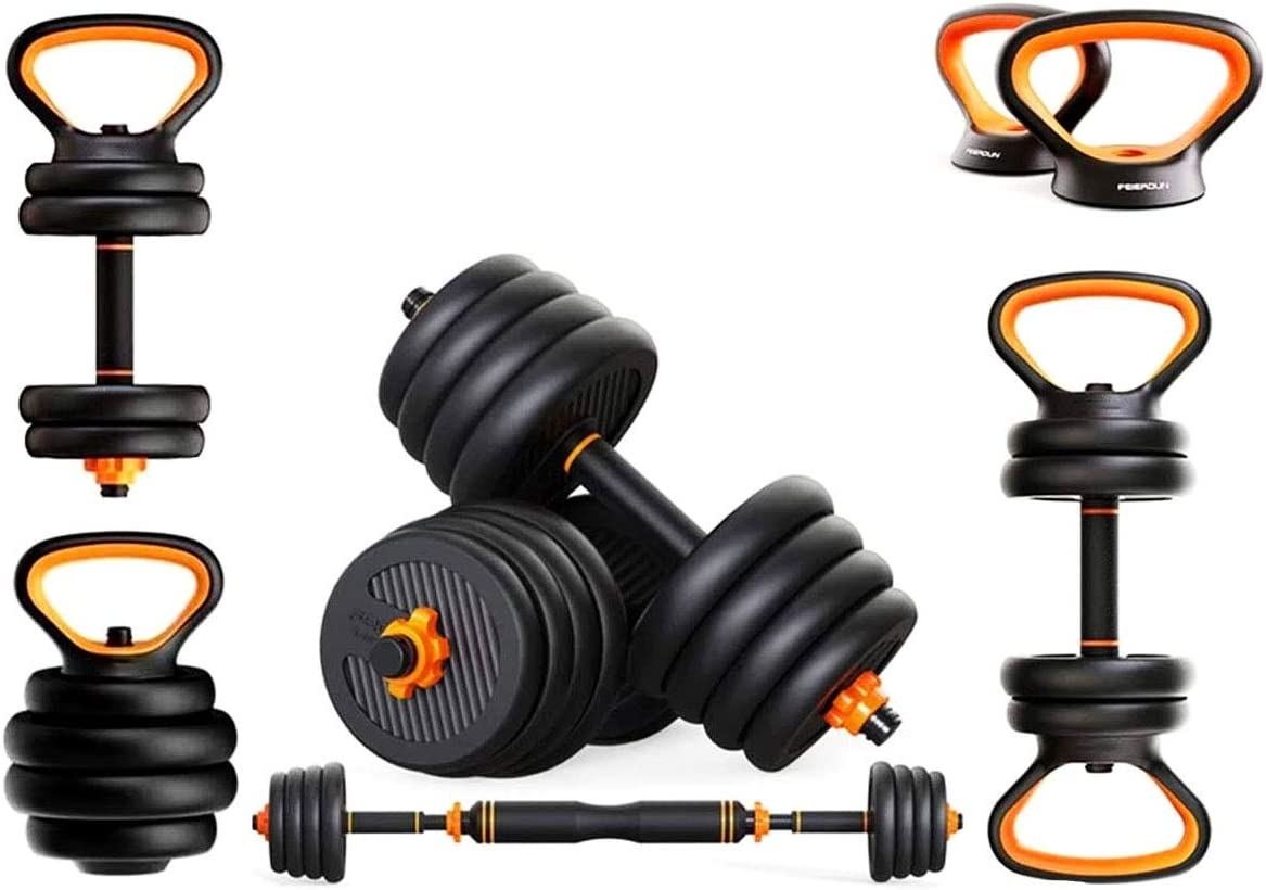 PIJAOSBOX Adjustable Dumbbells Sets Barbell 44lbs Body Workout Home, Dumbbell Barbell Set, Multi Functional and 6 in 1 Combinations