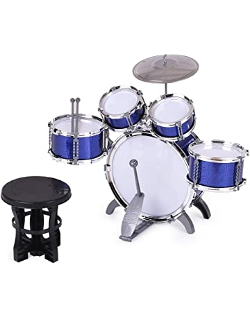 ammoon Children Kids Drum Set Musical Instrument Toy 5 Drums with Small  Cymbal Stool Drum Sticks f75127a7b