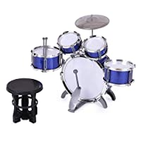 ammoon Children Kids Drum Set Musical Instrument Toy 5 Drums with Small Cymbal Stool Drum Sticks for Boys Girls (Blue)