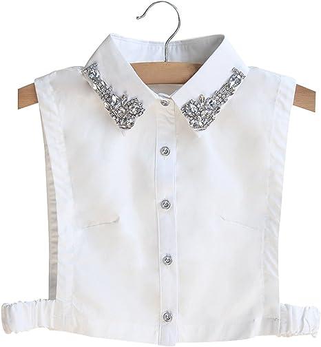 BeToper - Camiseta para mujer con cuello desmontable en algodón, color blanco: Amazon.es: Deportes y aire libre