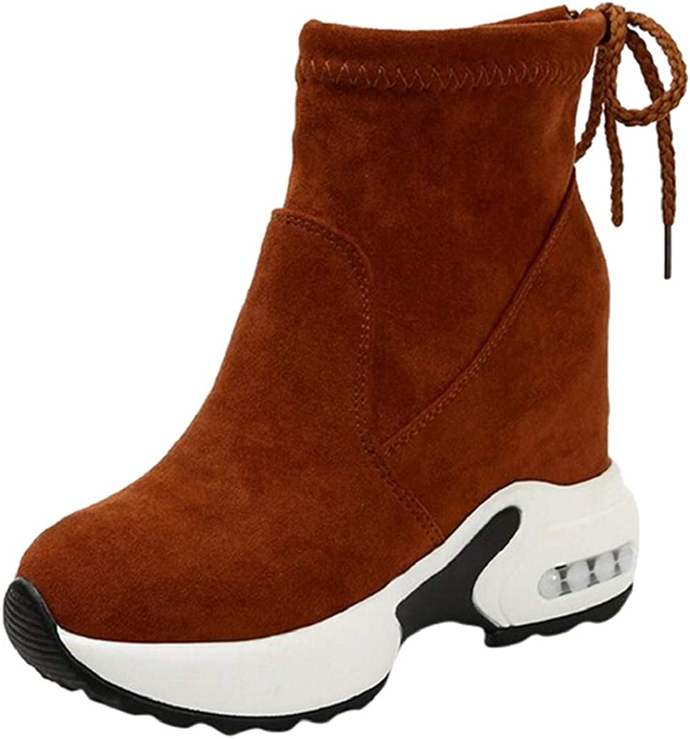 Womens Casual Wedges Sneakers Booties Fashion High Top Hidden Heel Wedges Air Cushion Short Boot Shoes by Nevera