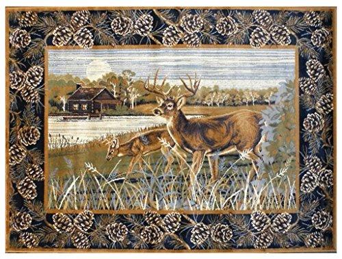 Area Rug Deer Scene (7 Feet 7 Inch X 10 Feet 6 Inch)