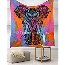 Tie Dye Tapestry, Elephant Wall Hanging, Bohemian Bedding Queen, Hippie Dorm Decor, Indian Cotton Throw, Boho Beach Blanket