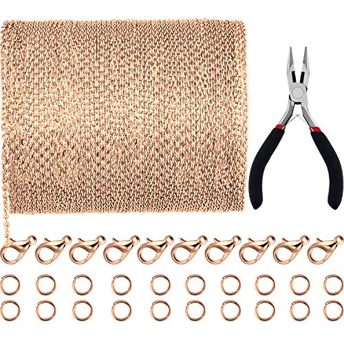 Jovitec 39.4 Feet 2 mm Link Chain Necklace Jewelry Plier with 30 Pieces Lobster Clasps and 100 Pieces Jump Rings for Jewelry Accessories DIY (Rose Gold) ()