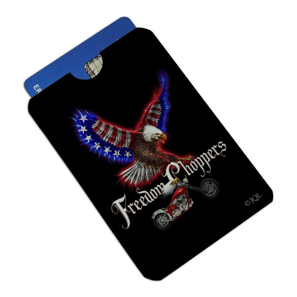 Freedom Choppers Motorcycle Patriotic American Flag Eagle Bike Credit Card RFID Blocker Holder Protector Wallet Purse Sleeves Set of 4