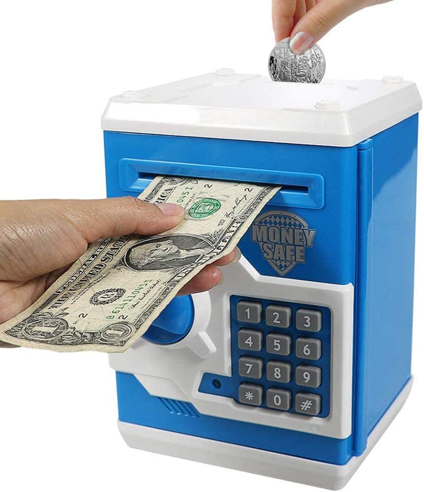 TADAMI Cash Coin Saving Piggy Bank Electric ATM Money Safe Box with Password Combination Lock Toy Gift for Kids