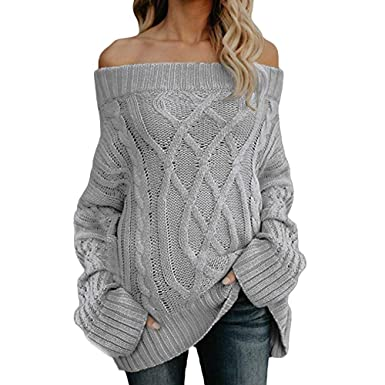 12c7f359926 GOVOW Sexy Long Sleeve Shirts for Women Cleavage Off Shoulder Loose Cable Knit  Sweater Pullover Blouse