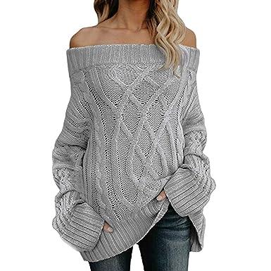 Solike Mode Tricot Pull Femme Automne Hiver Chaud Sweater à Col Bateau  Tricot Rose sans Bretelle 68b6b03a241
