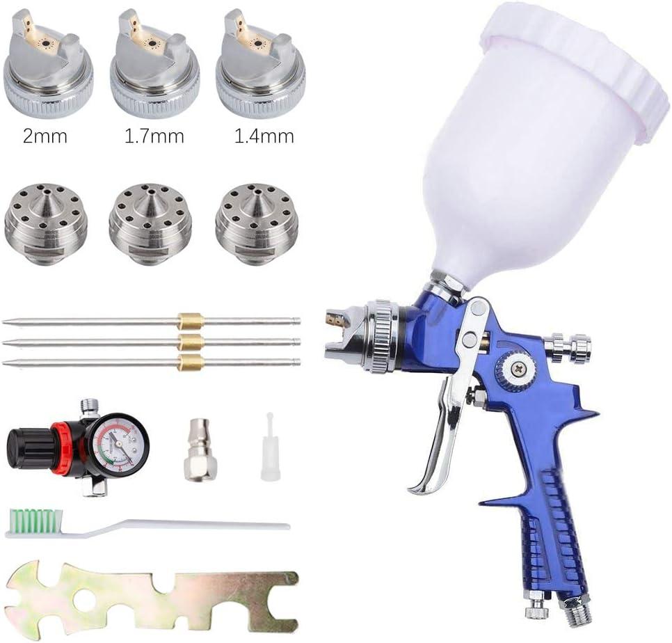 S SMAUTOP Pistola de pulverización HVLP - H-827P Pistola de pulverización de sistema de pintura profesional con vaso de plástico de 600 ml y boquilla de acero inoxidable 1.4, 1.7, 2 mm …