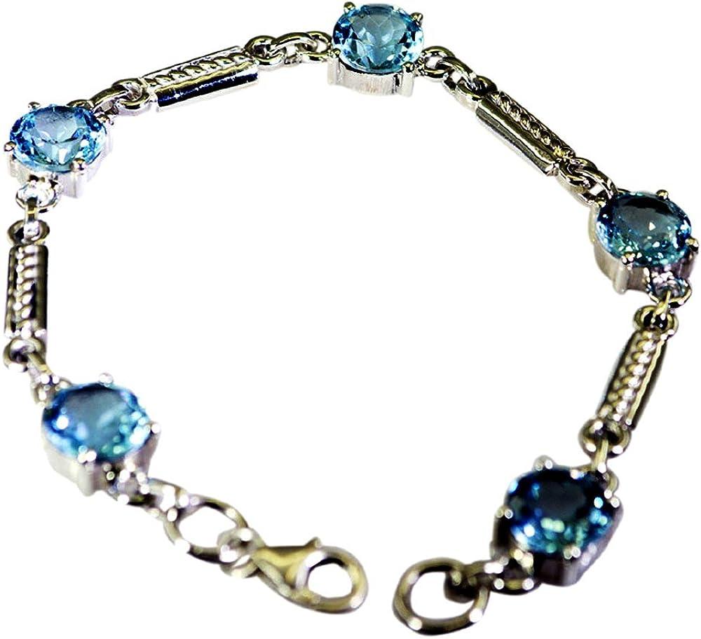 Gemsonclick - Pulsera de Plata de Ley con topacio Azul Real para Mujer, Diseño de Piedra de Nacimiento, Talla L DE 16,5 a 20,3 cm
